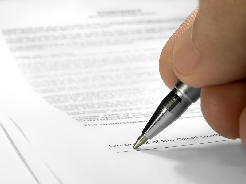 подписание договора о продаже