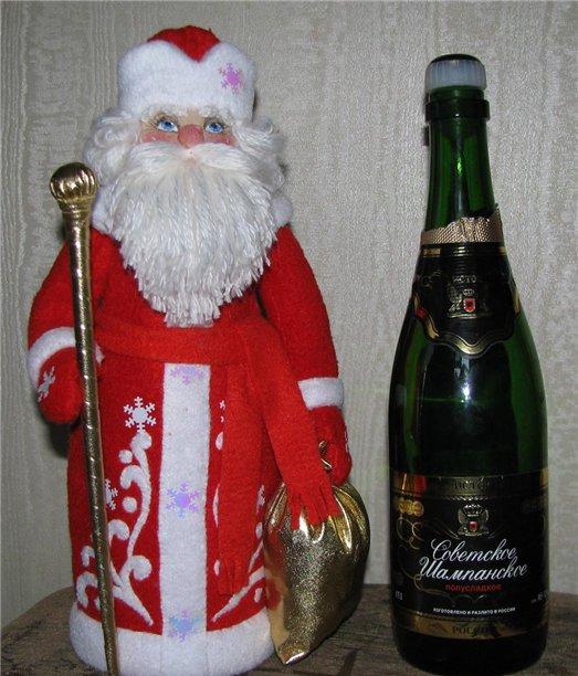дед мороз на бутылку шампанского своими руками