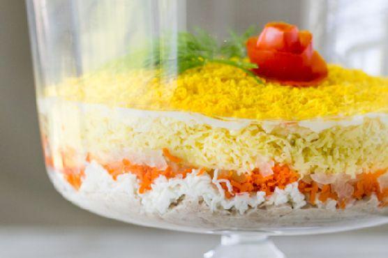 салат мимоза с картошкой