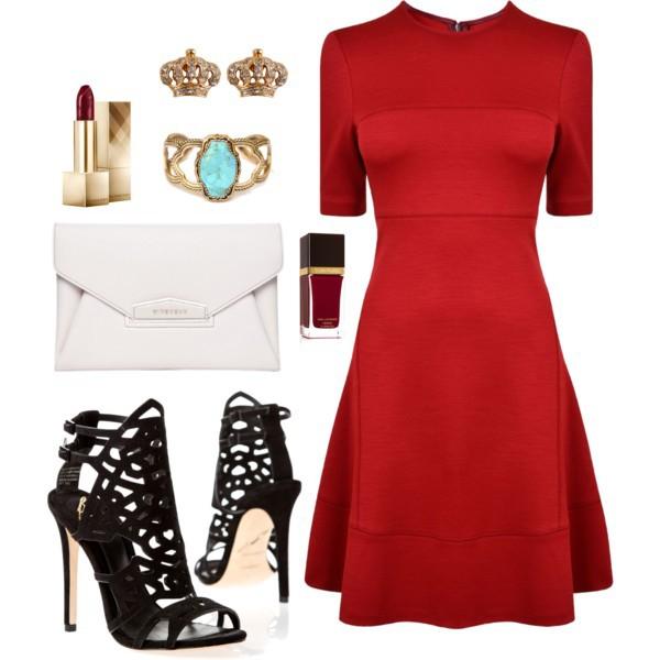 Плетеные туфли на каблуке под красное платье