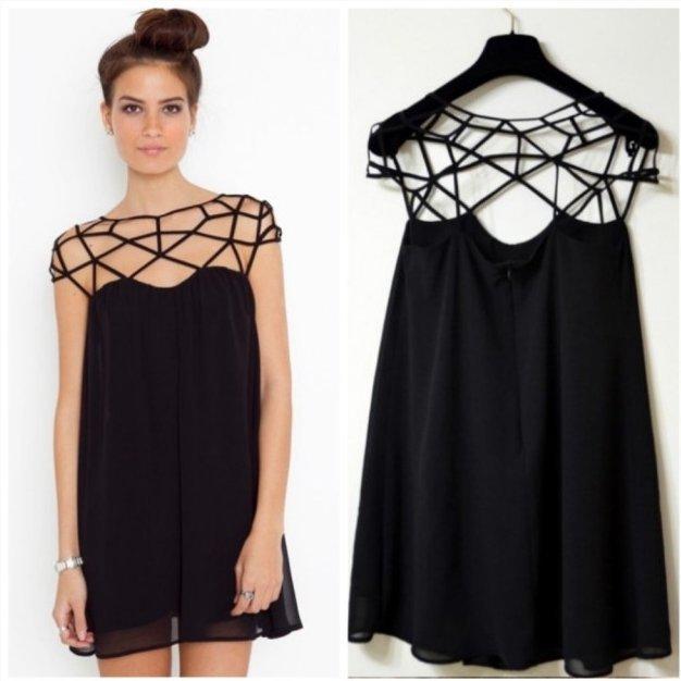 Черное открытое платье