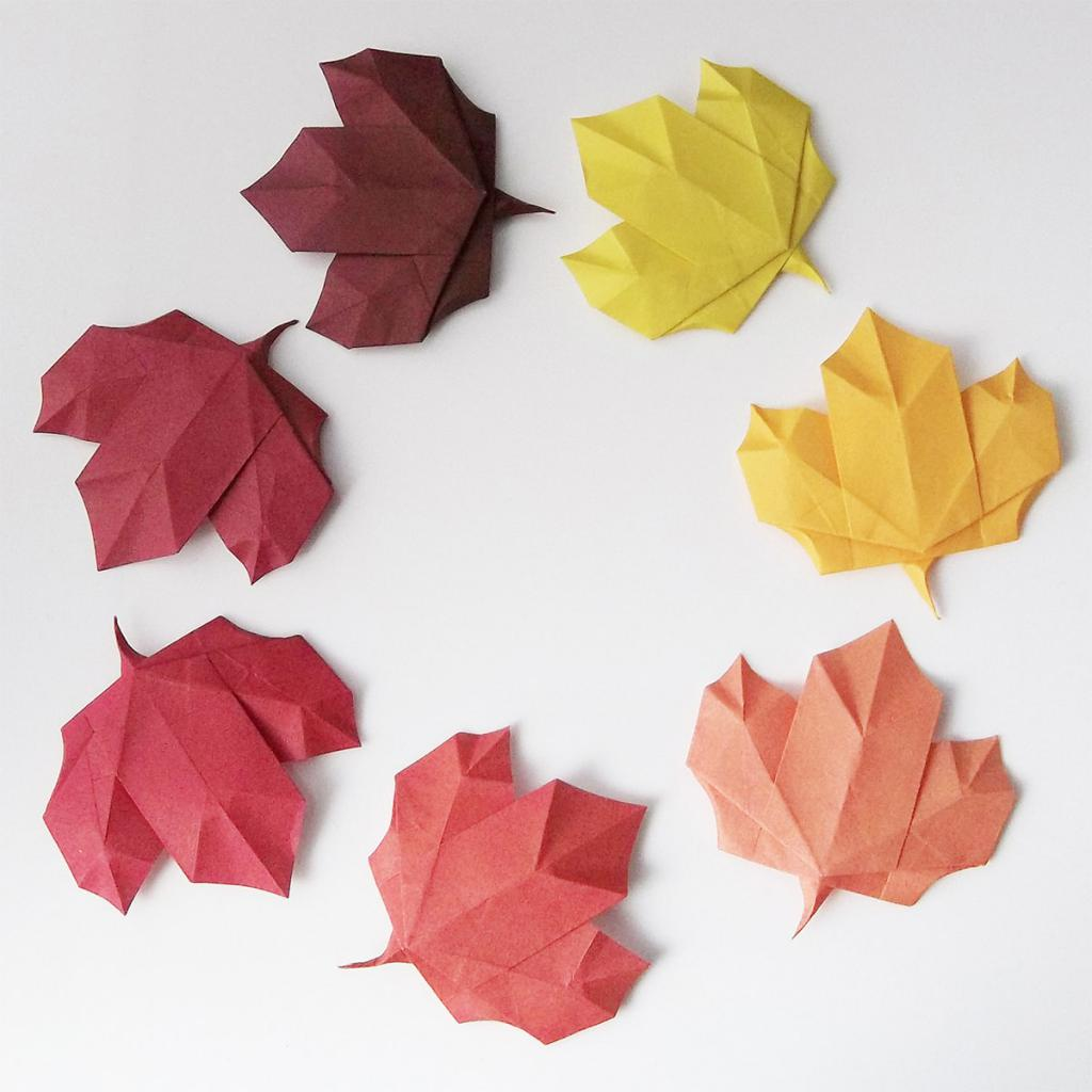 кленовый лист оригами схема