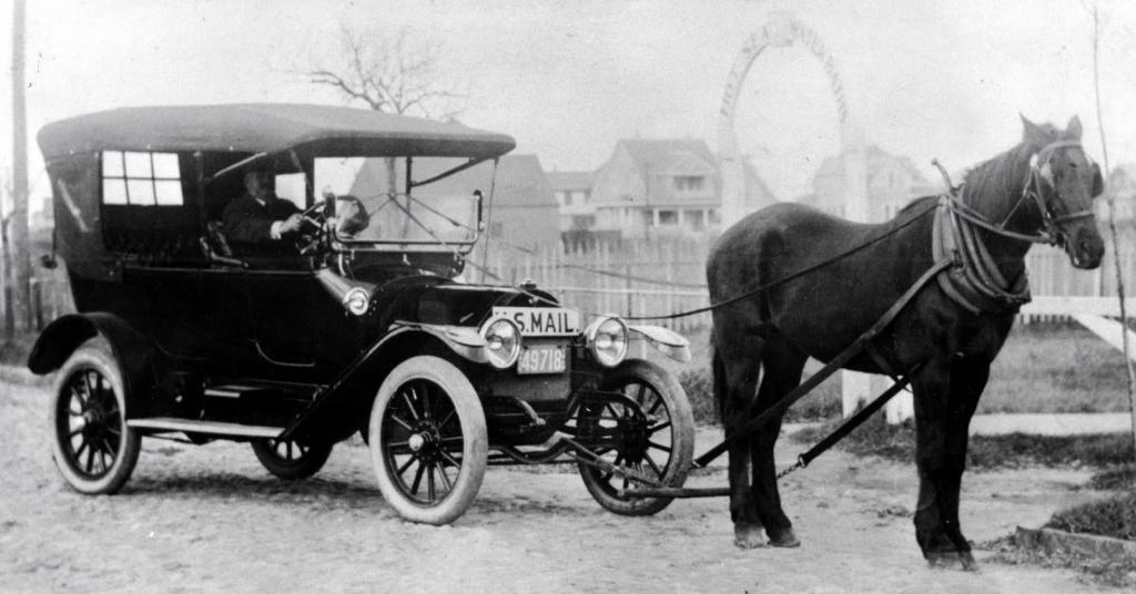 Лошадиная сила тянет машину
