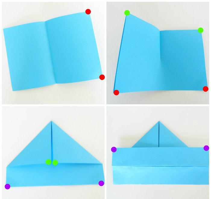 Схема оригами кораблика