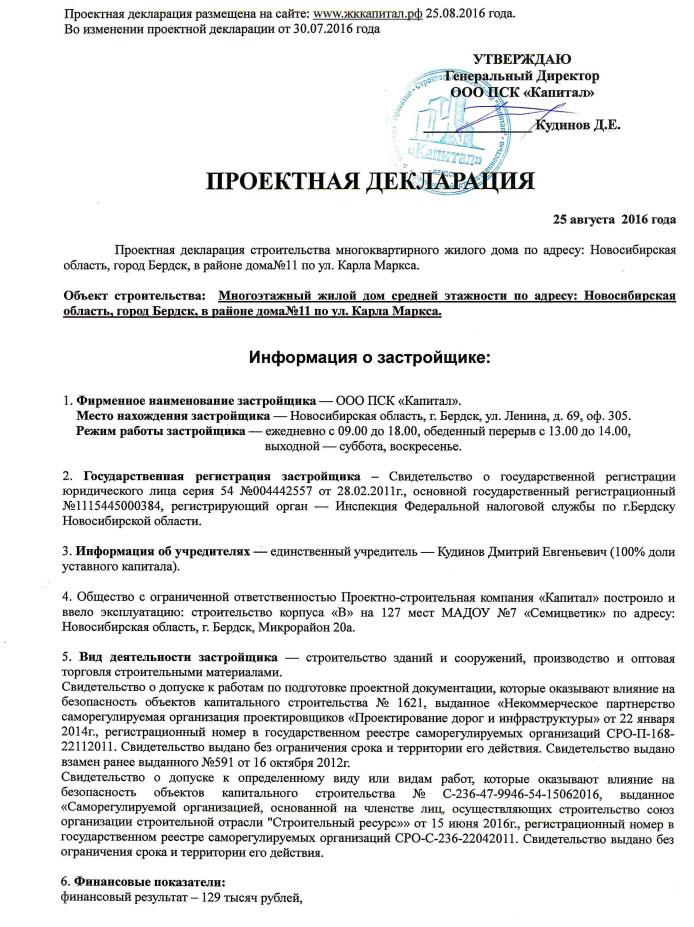 Проектная декларация образец
