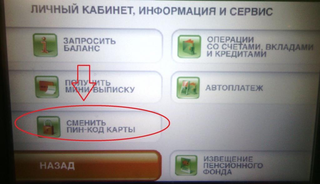 Выбор опции в банкомате