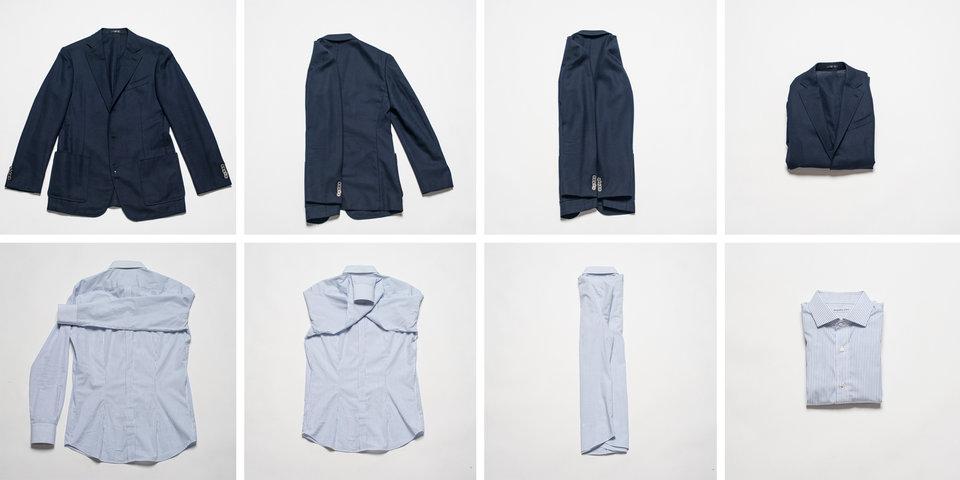Один из способов упаковки пиджака и рубашки.