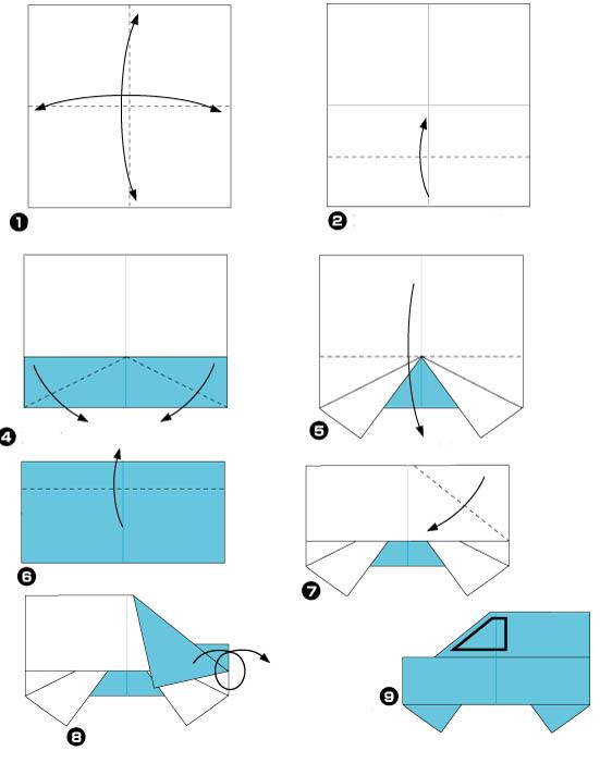схема складывания джипа из бумаги