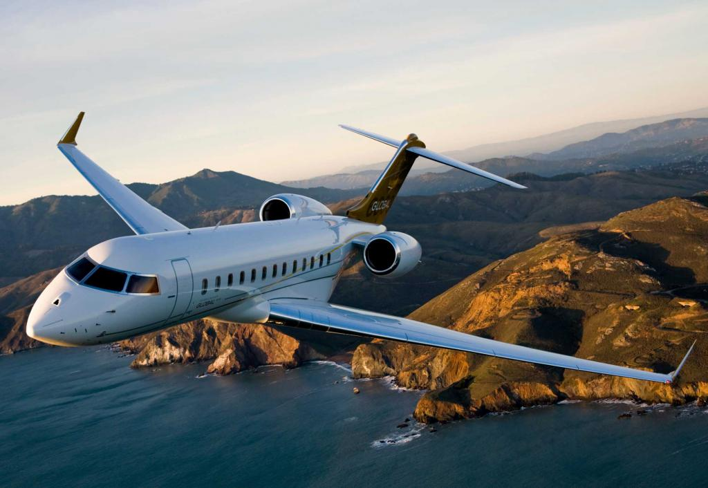 Бизнес самолет в полете