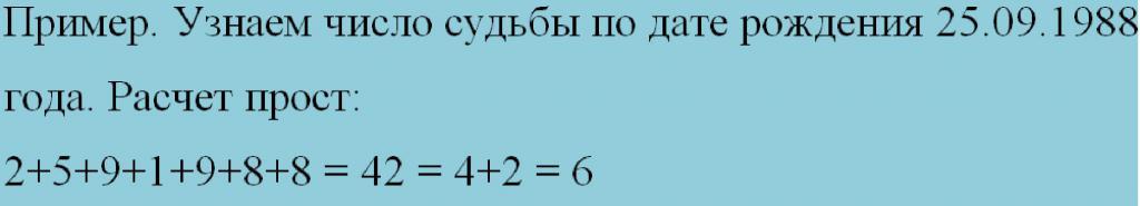 Пример расчета числа судьбы