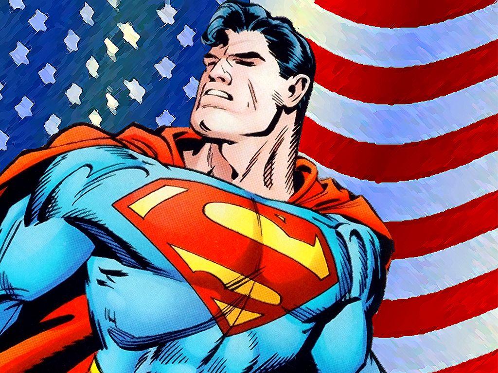 супермен на фоне американского флага