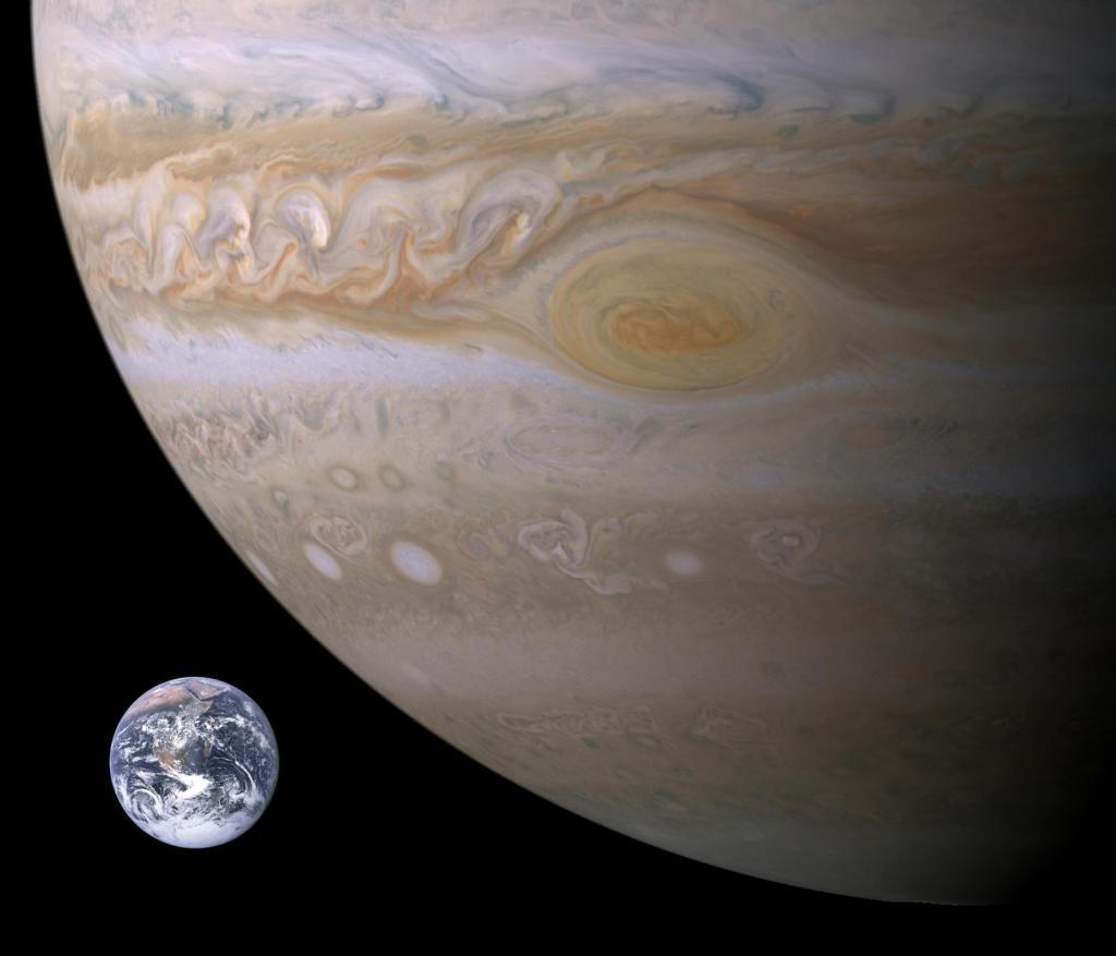 Сравнение Земли с Юпитером