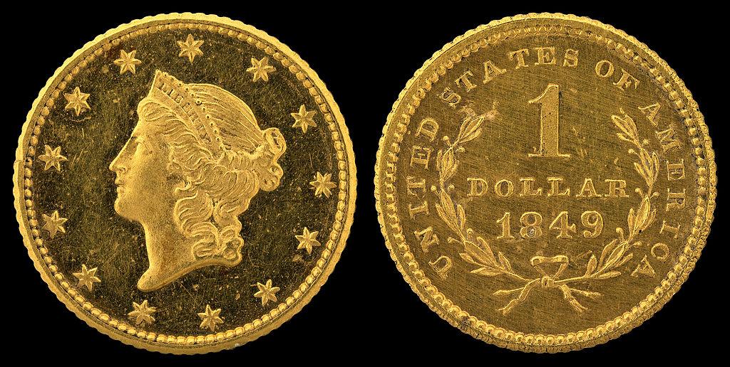 Золотая монета 1 доллар