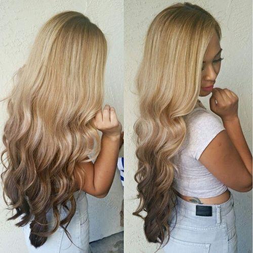 обратное омбре на длинные волосы