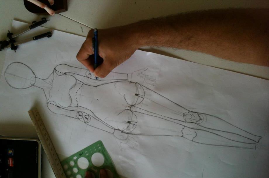 Чертеж для изготовления куклы из паперклея