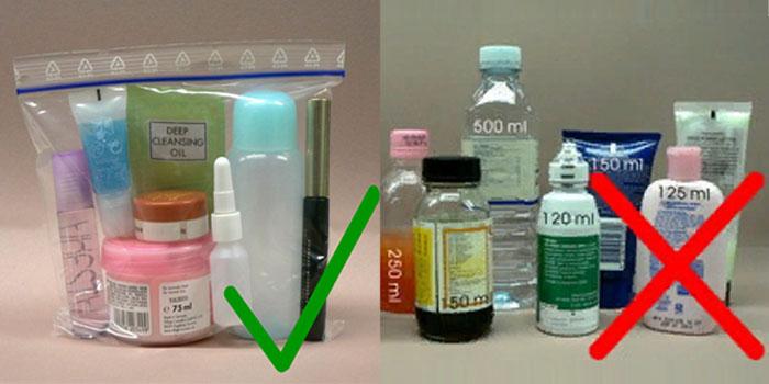 Правила упаковки жидкостей в ручной клади