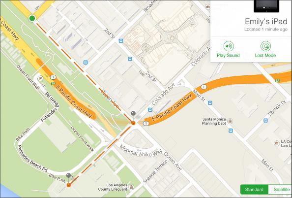 Отображение местоположения iPhone на карте