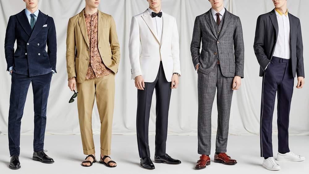Коллекция пиджаков с разнообразными брюками