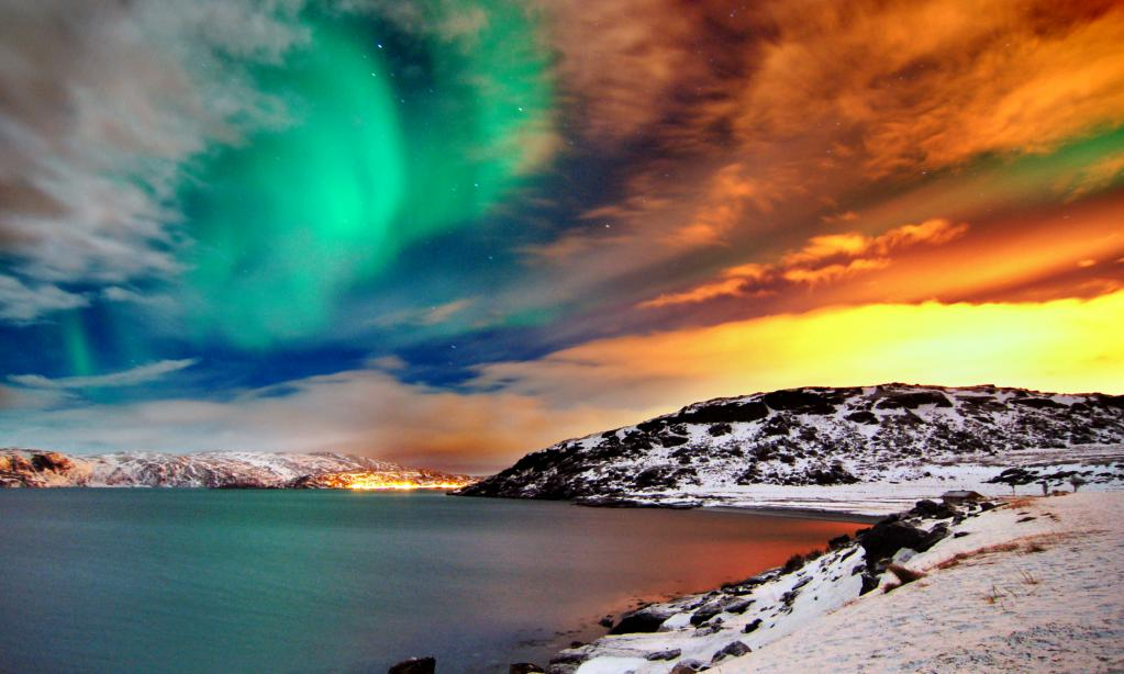 Северное сияние в Норвегии в августе