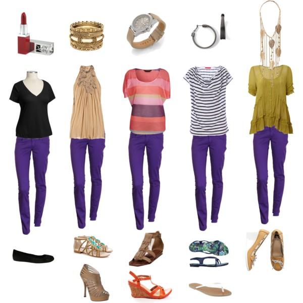 С чем носить фиолетовые штаны
