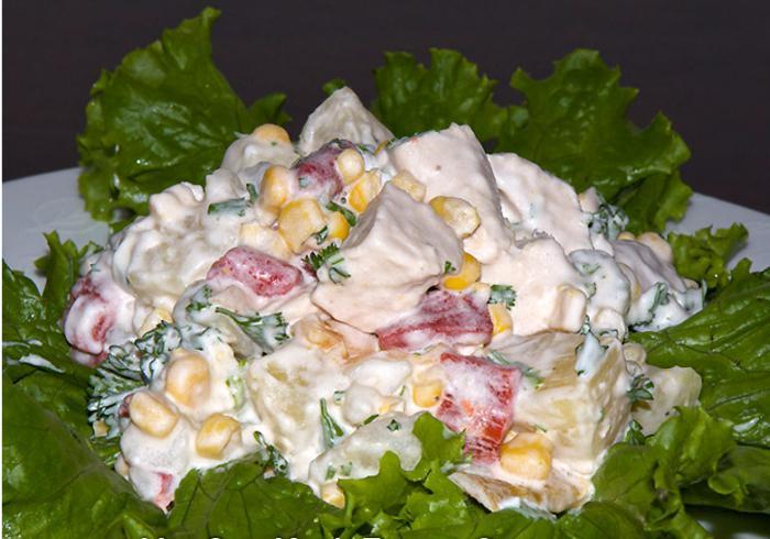 салат с копченым окорочком с фото