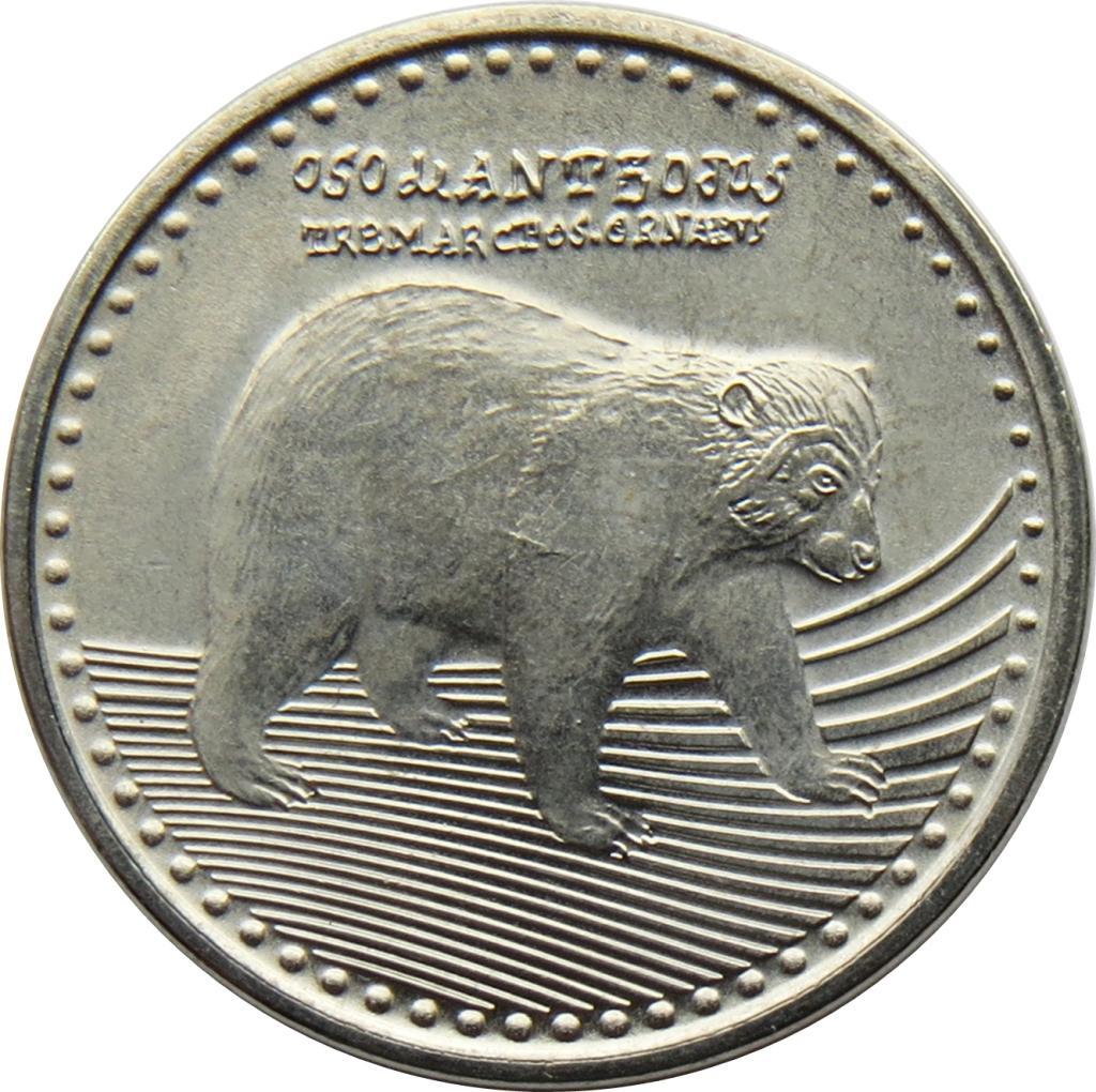 Изображение очкового медведя на монете