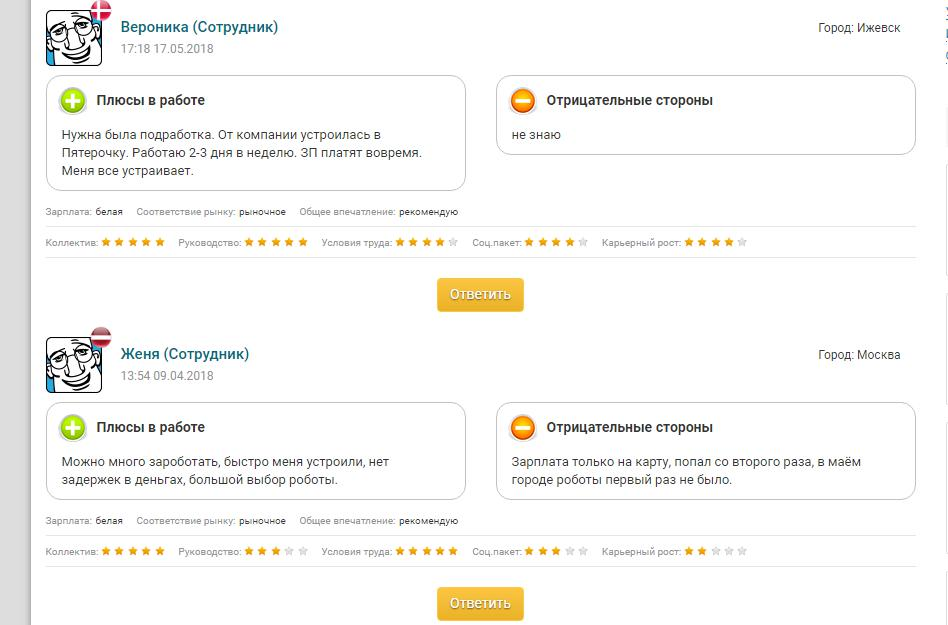 Положительные отзывы о компании