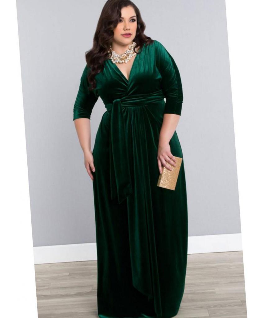 вечернее платье зеленого цвета для полных