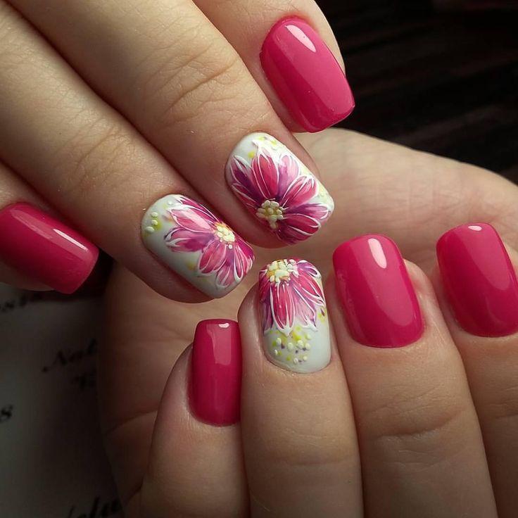 рисуем цветы гелем на ногтях
