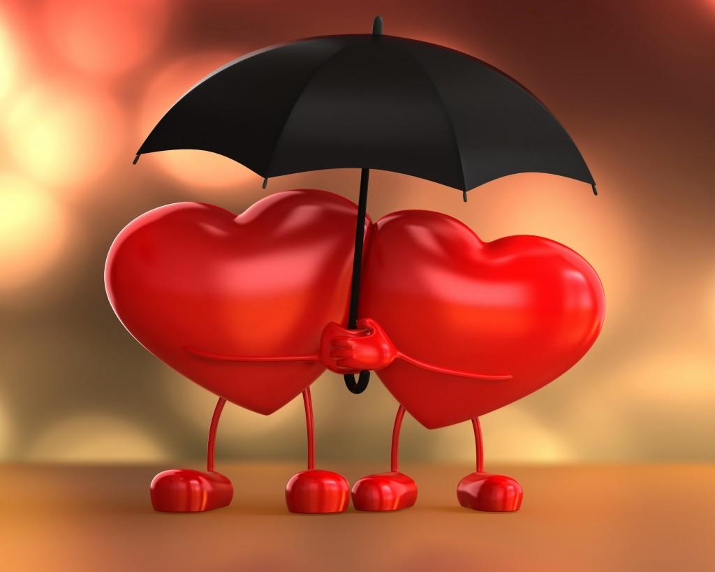 Два сердца под зонтиком