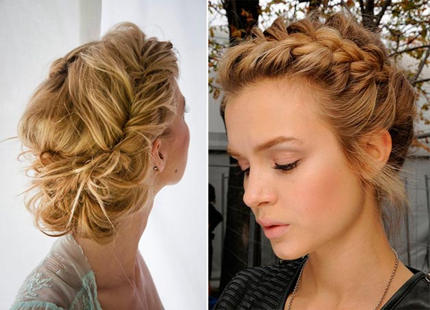 Пучок из волос с плетением