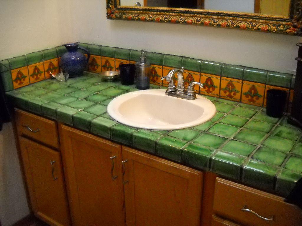 столешница в ванную под раковину из плитки