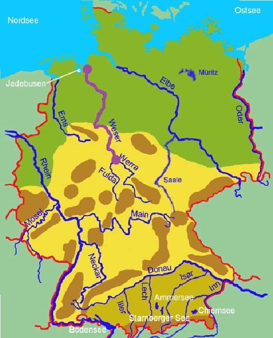 река Везер на карте