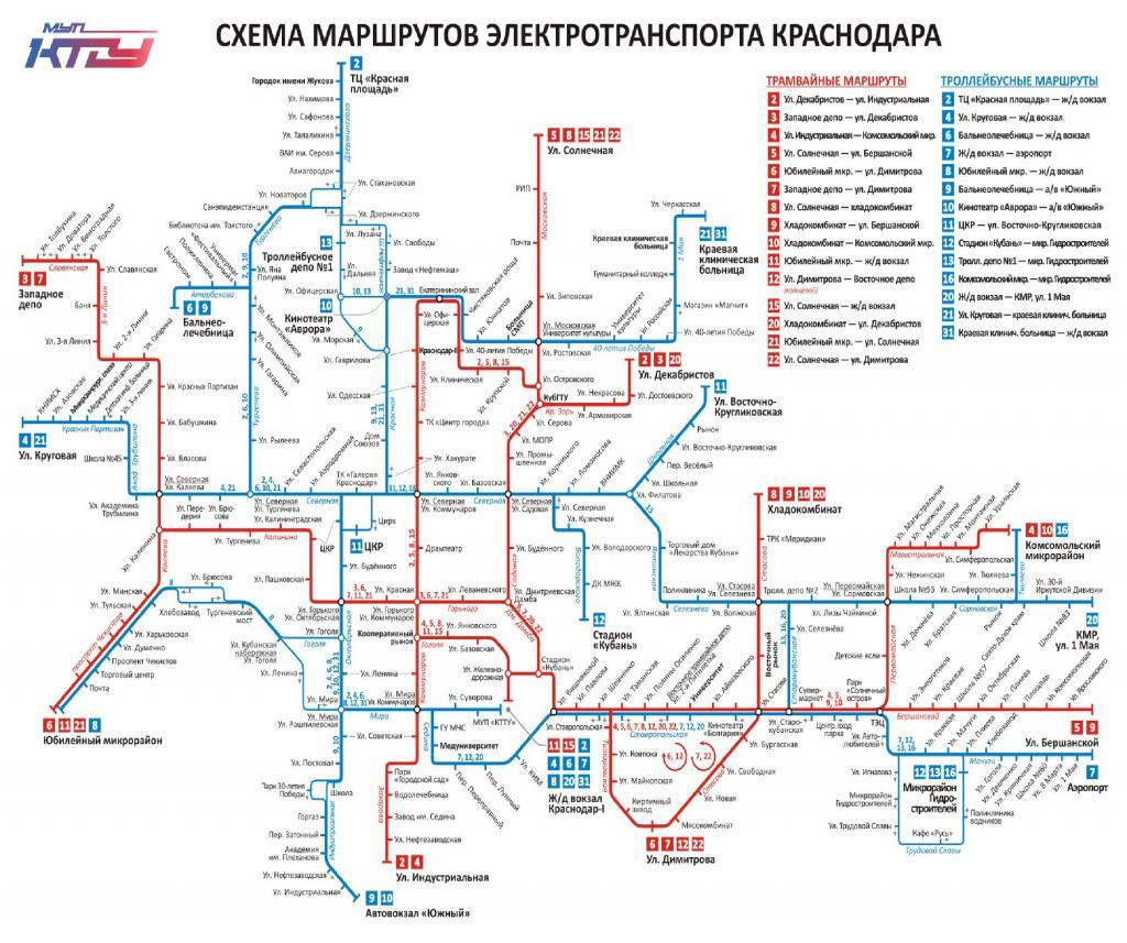 схема движения трамваев Краснодар