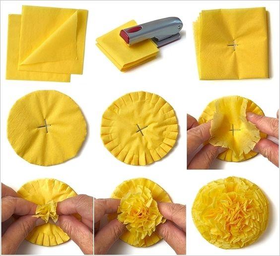 как сделать помпоны из салфеток
