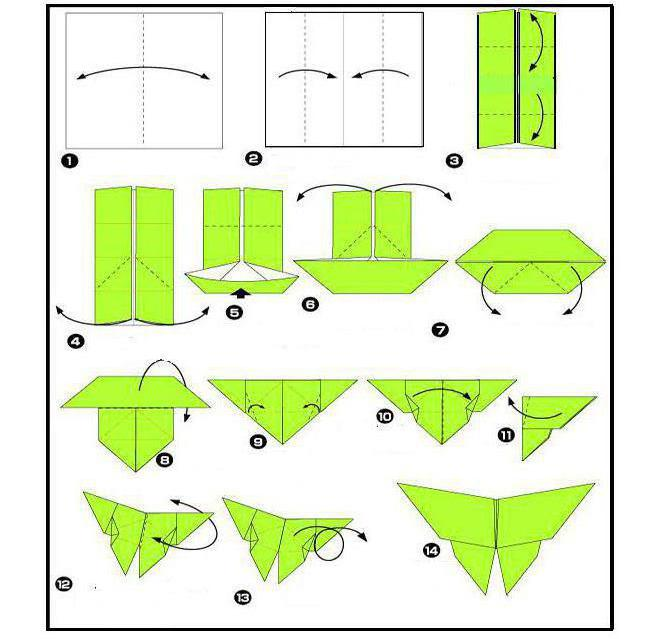 схема оригами бабочек №2