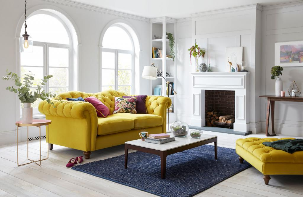 оригинальный желтый диван