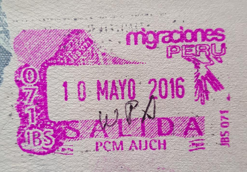 Пример штампа на границе в Перу