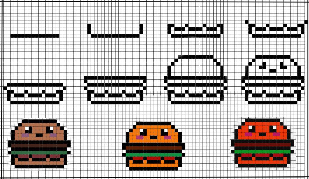 Рисование гамбургера по клеточкам