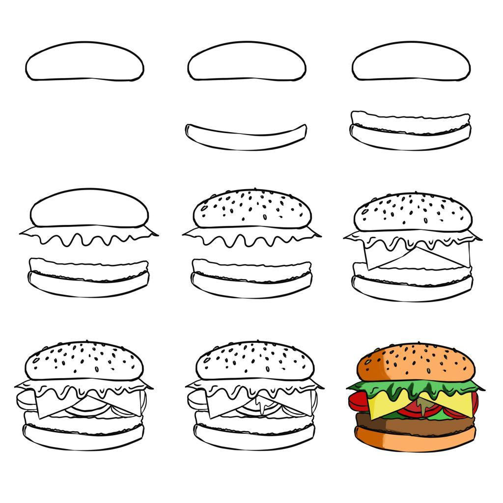 Этапы рисования гамбургера