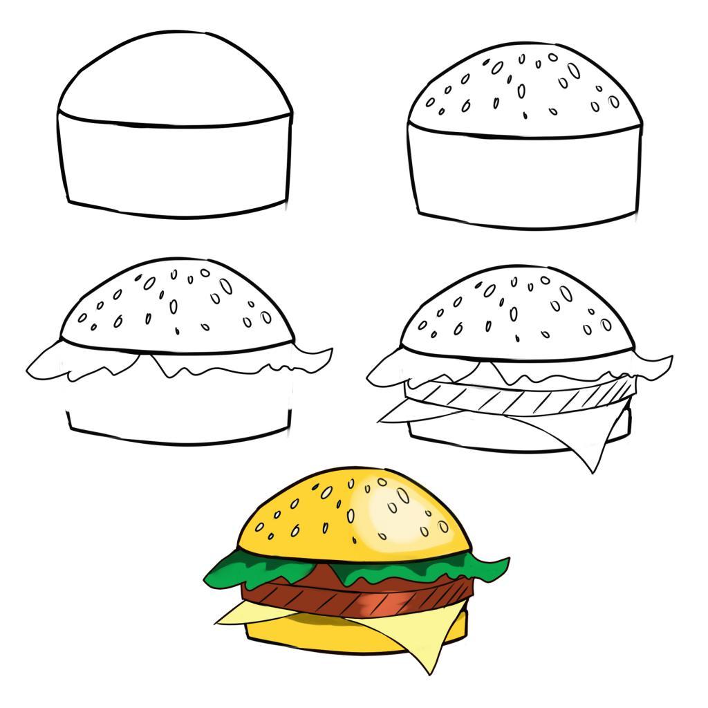 Второй способ нарисовать гамбургер