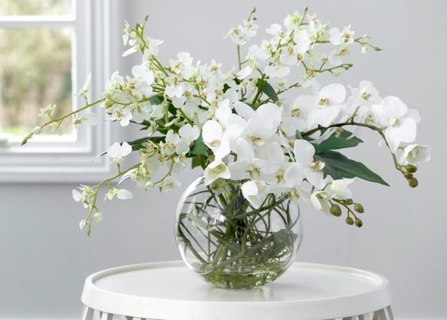 Белая орхидея в воде