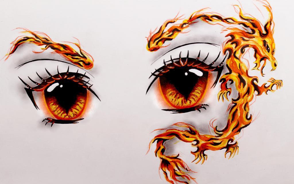 Анимешные глаза с огнем
