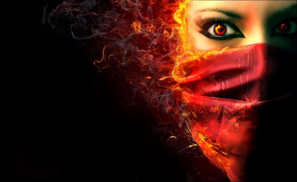 Девушка восточная с огнем
