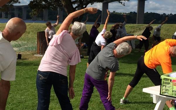 Пенсионеры делают зарядку на открытом воздухе