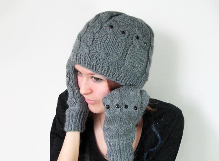 варежки сова в комплекте с шапочкой
