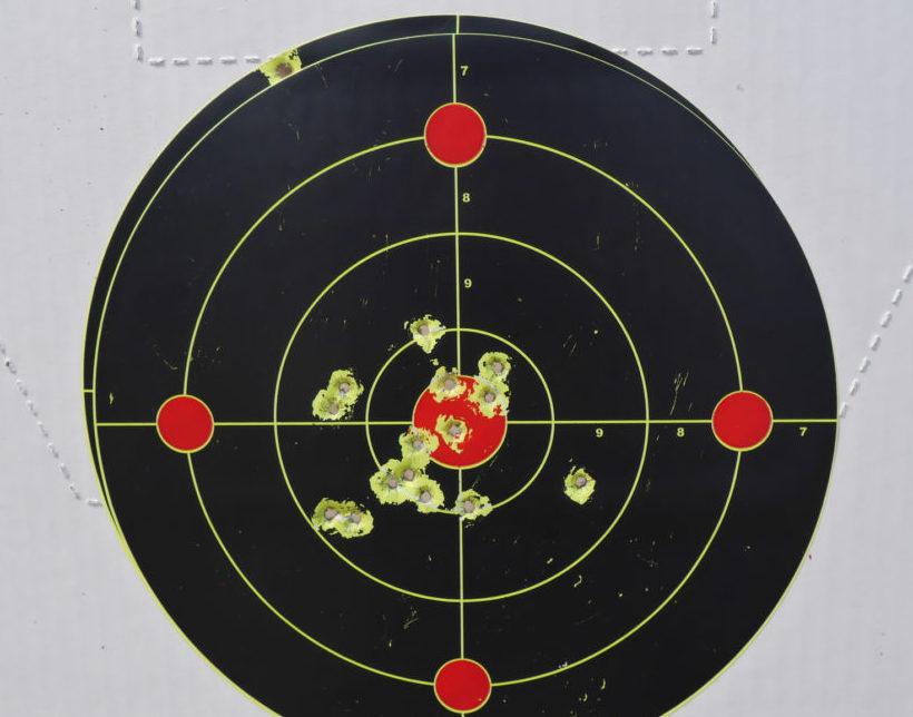 Выстрелы по мишени произведены патроном калибра 5,6 мм