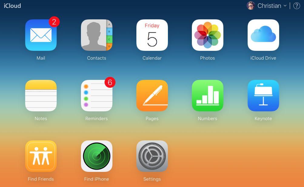 Главное меню в iCloud