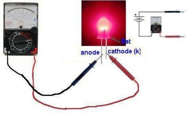 Тест светодиода с помощью мультиметра