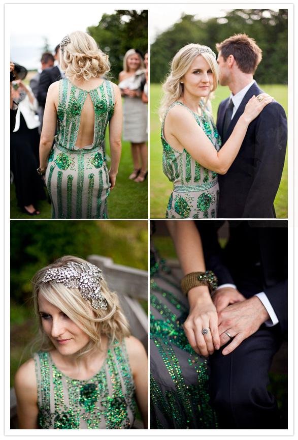 свадебные платья с зелеными элементами